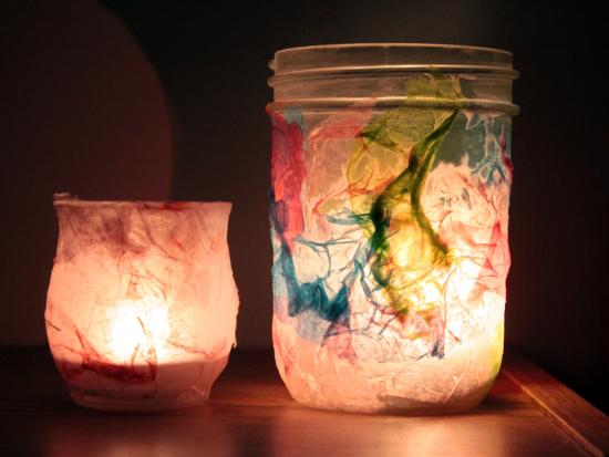 Tissue paper night lights by kiwi crate get steam stem - Different craft ideas for kids ...