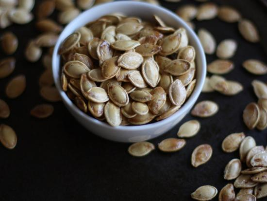 After your child rinses the pumpkin seeds, dry the pumpkin seeds on a ...