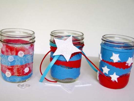 Red white and blue mason jar luminaries by kiwi crate get steam stem projects - Stemmed mason jars ...