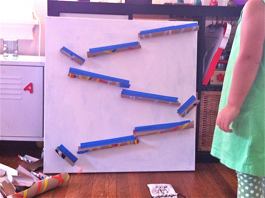 Cardboard tube marble run for Cardboard for projects